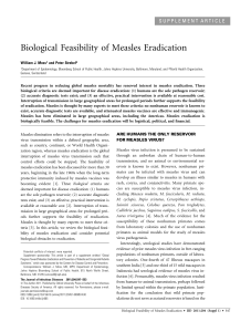 Biological Feasibility of Measles Eradication