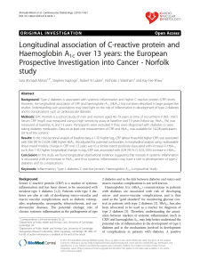 Longitudinal association of C-reactive protein and Haemoglobin A1c