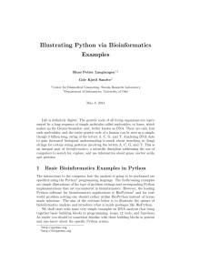 Illustrating Python via Bioinformatics Examples