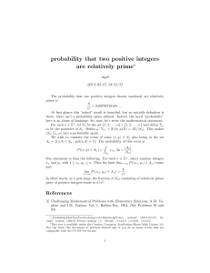 probability that two positive integers are relatively prime