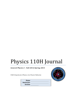 Physics 110H Journal - New Mexico State University