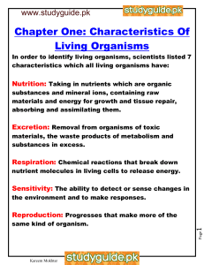Chapter One: Characteristics Of Living Organisms