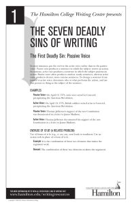 The First Deadly Sin: Passive Voice