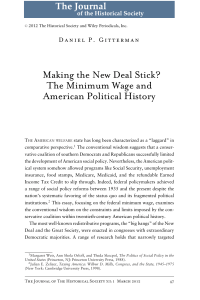 Making the New Deal Stick The Minimum Wage and American