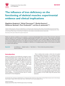 The influence of iron deficiency on the functioning of skeletal