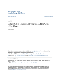 States` Rights, Southern Hypocrisy, and the Crisis of the Union