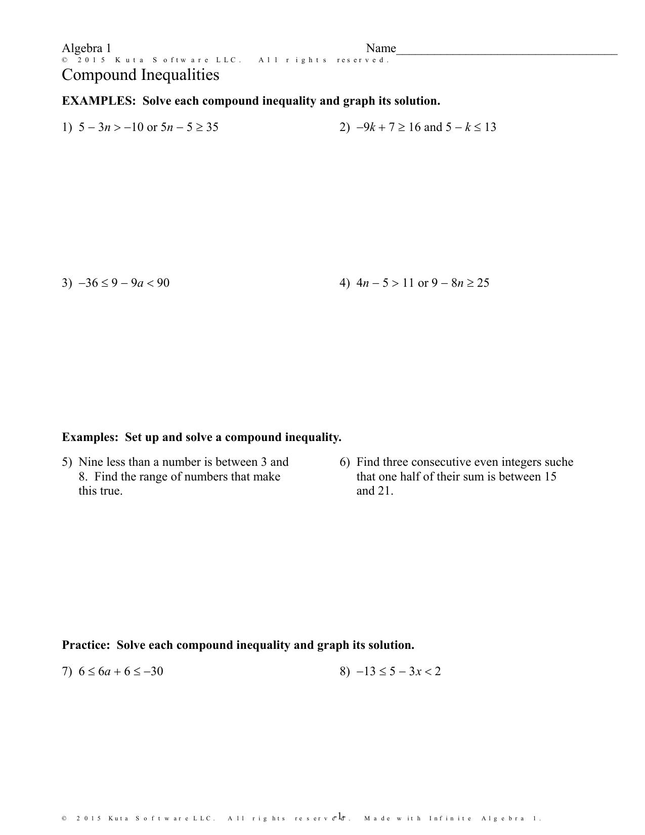 Infinite Algebra 24 - Compound Inequalities With Algebra 1 Inequalities Worksheet