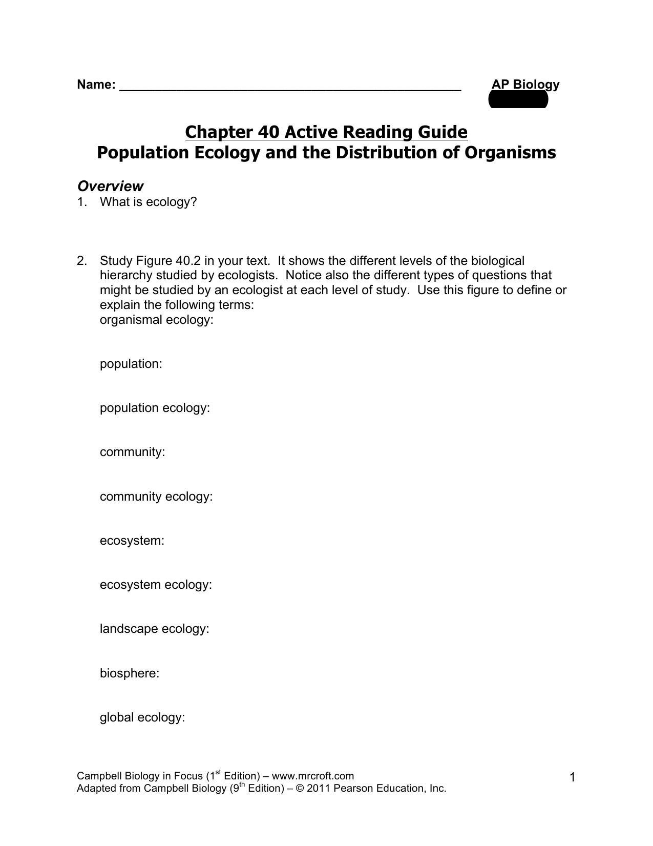 ap biology population ecology