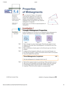 Properties of Midsegments - TJ