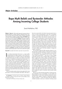 Rape Myth Beliefs and Bystander Attitudes Among Incoming