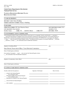 NPS Form 10-900 OMB No - Texas Historical Commission
