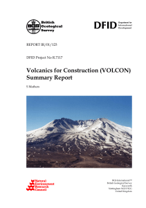 (VOLCAON) summary report. - British Geological Survey