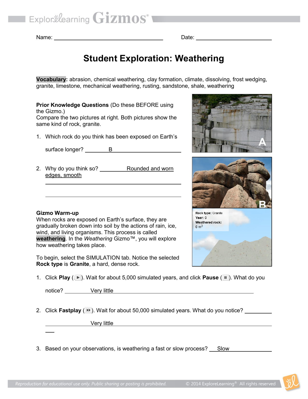 Student Exploration Weathering