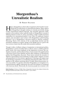 Morgenthau`s Unrealistic Realism - Yale Journal of International Affairs
