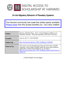 On the Migratory Behavior of Planetary Systems The Harvard