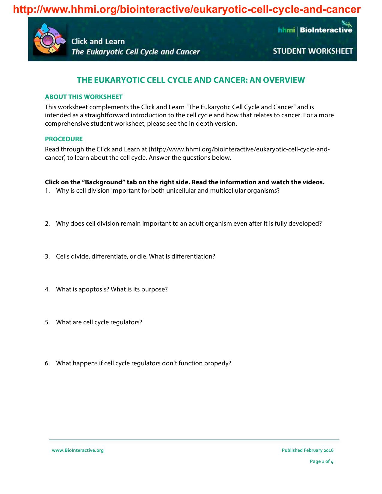 Httphhmibiointeractiveeukaryotic cell cycle and ibookread ePUb