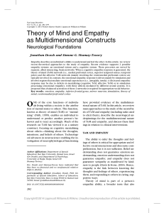 Theory of Mind and Empathy as Multidimensional Constructs