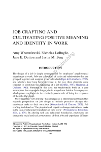 Job crafting and cultivating positive meaning and