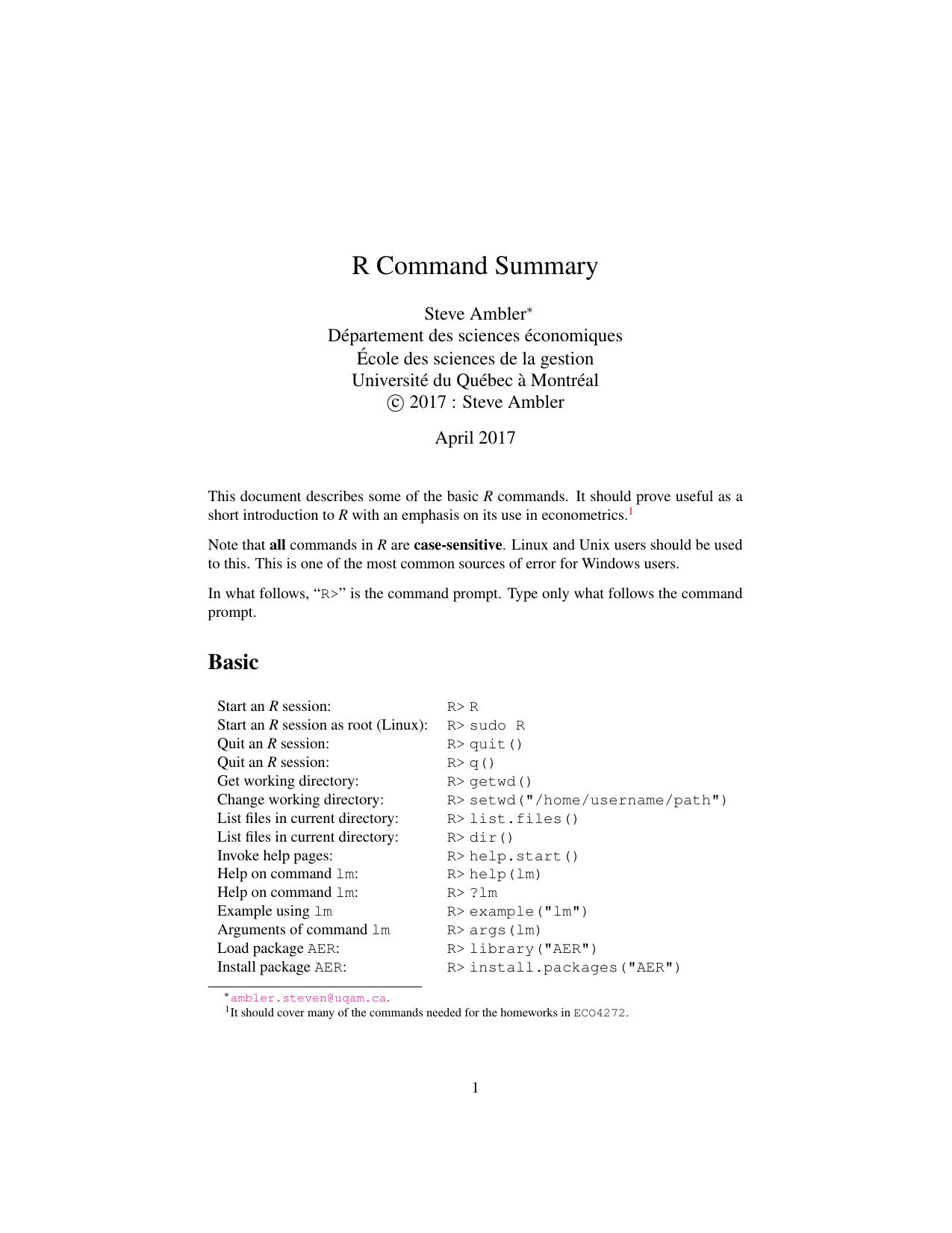 R Command Summary - Steve Ambler