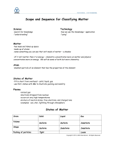 Scope and Sequence for Classifying Matter