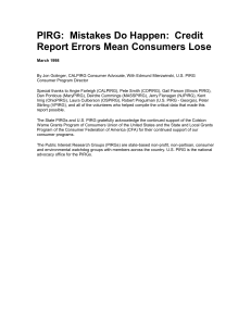 PIRG: Mistakes Do Happen: Credit Report Errors Mean Consumers
