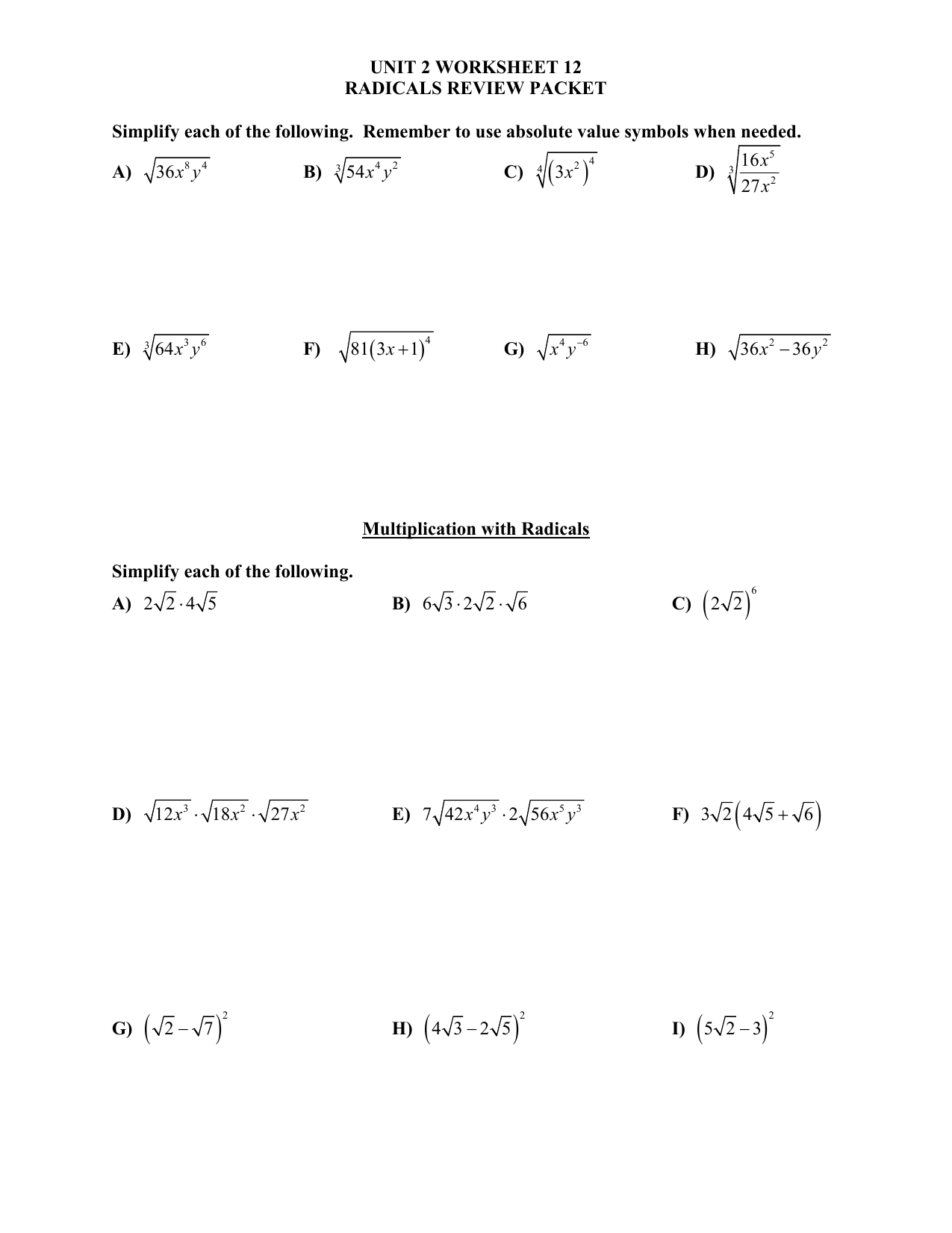 Unit 2 Worksheet 12 Radicals Review Packet