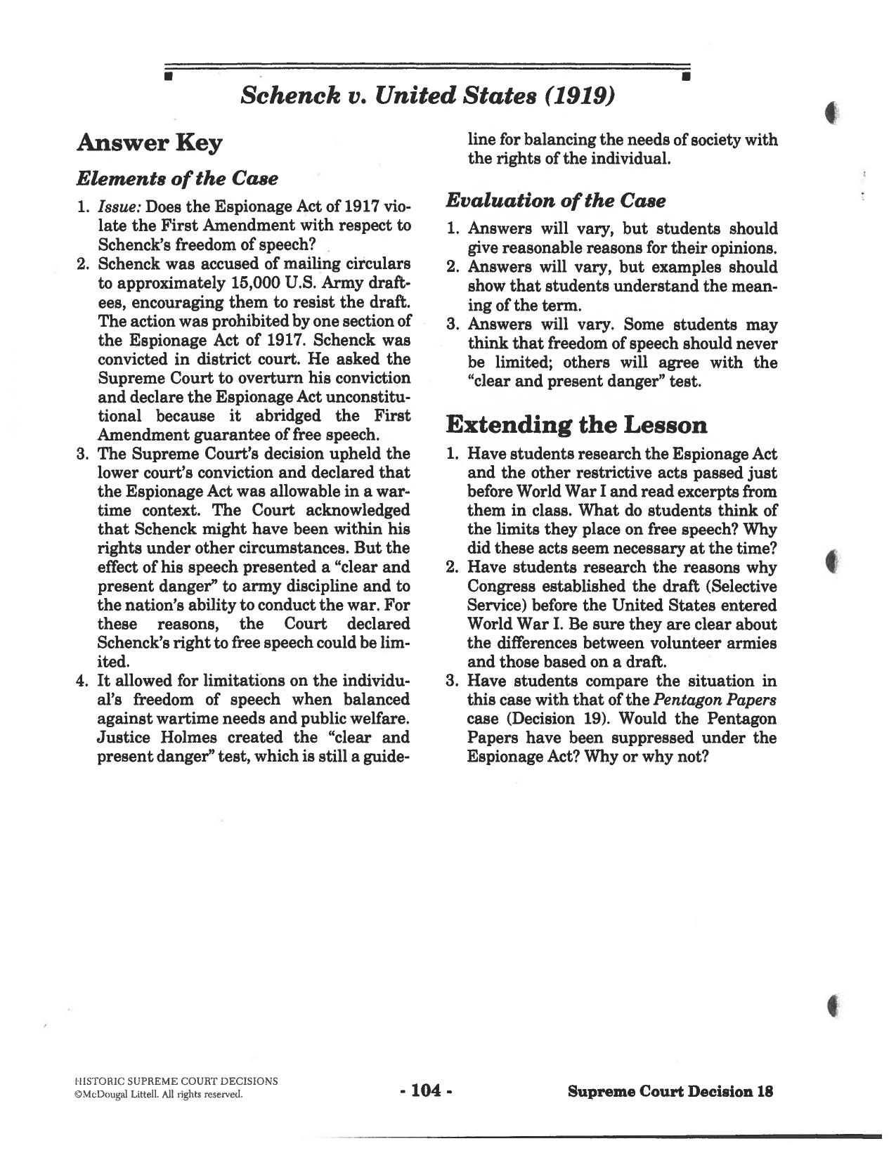 Analyzing Supreme Court Cases Worksheet - Nidecmege