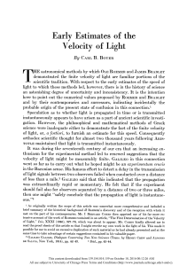 Early Estimates of the Velocity of Light