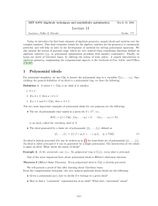 1 Lecture 13 Polynomial ideals