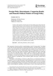 Foreign Policy Determinants: Comparing Realist and Domestic