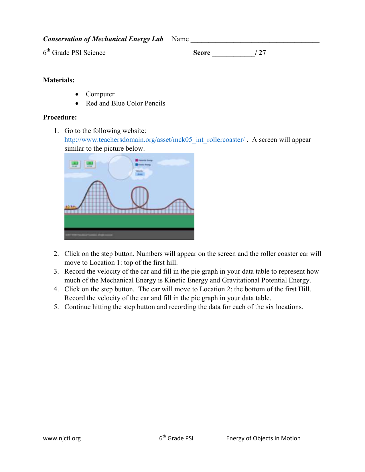 Conservation Of Mechanical Energy Lab Name 6 Grade Psi Science Diagram