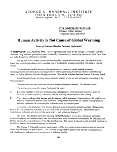 Human Activity Is Not Cause of Global Warming