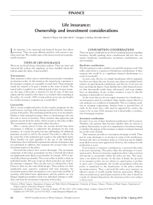 Life insurance: Ownership and investment considerations