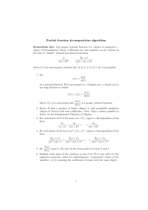 Partial fraction decomposition algorithm
