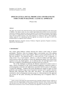 Speech levels, social predicates and pragmatic structure in Balinese