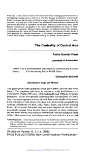 The Centrality of Central Asia