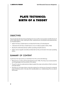 PLATE TECTONICS: BIRTH OF A THEORY