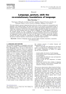 Language, gesture, skill: the co-evolutionary
