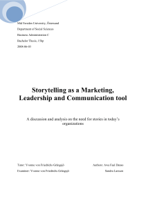 Storytelling as a Marketing, Leadership and Communication