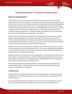 """Psychology Works"" Fact Sheet: Eating Disorders"