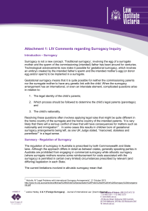 Attachment 1: LIV Comments regarding Surrogacy Inquiry