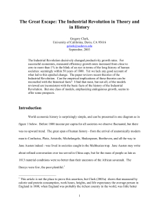 The Industrial Revolution in Theory and in History