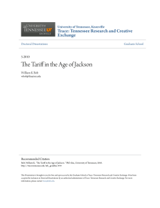 The Tariff in the Age of Jackson - Trace: Tennessee Research and