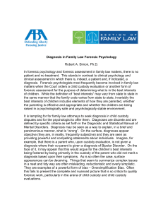 Diagnosis in Family Law Forensic Psychology