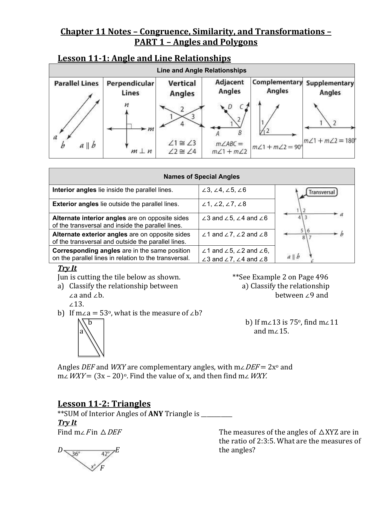 Parallel Lines Cut By A Transversal Worksheet Answers ...