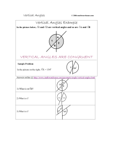 Vertical Angles Example VERTICAL ANGLES ARE CONGRUENT