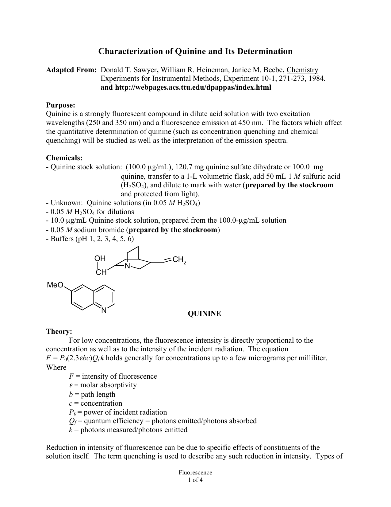 Characterization of Quinine and Its Determination
