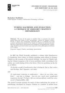 TURING MACHINES AND EVOLUTION. A CRITIQUE OF GREGORY