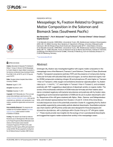 Mesopelagic N-2 fixation related to organic matter composition in