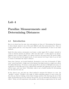 Lab 4 Parallax Measurements and Determining